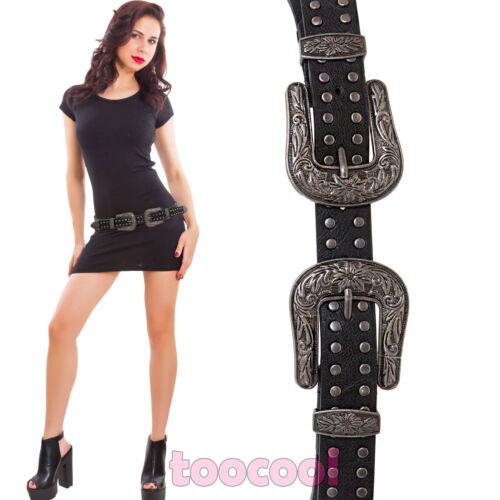 Cintura donna western cowboy doppia fibbia borchie ecopelle nuova ZSP-17228