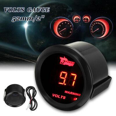 """Car Universal 2/"""" 52mm Black Car Motor Digital Red LED Volt Voltage Gauge V"""