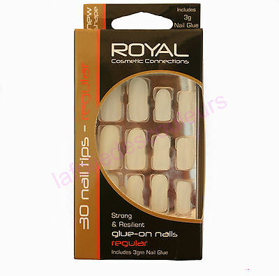 Faux ongles kit de  30 avec colle longs et neutres de marque Royal  false nails