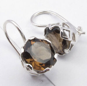 925-Solid-Silver-Brown-SMOKY-QUARTZ-CAGE-Setting-Pretty-Earrings-0-7-034-Classic