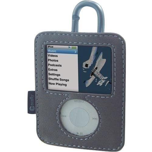 MACALLY BELLA  Leather Case cover w// carabiner clip Apple 3rd 3gen 3g iPod Nano