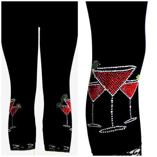 Plus Size Capri Length Leggings Embellished Rhinestone Red Margarita/'s Cocktail