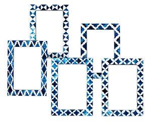 picture photo frame indigo moorish quatrefoil handmade bone frames
