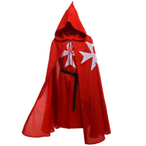 Warrior-LARP-Red-Tunic-CAPE-Cloak-Robe-KNIGHTS-OF-ST-JOHN-Cosplay-Medieval