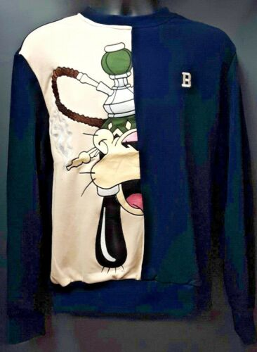 Navy Blue//Beige Men/'s Black Keys Goofy Smoking Hookah Crew Neck Sweater