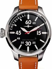 Chotovelli Men's Pilot Watch Black Aviation Dial Italian tan leather Strap 52.01