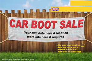 Car Boot Sale Here Custom Text Heavy Duty PVC Banner Sign 3018