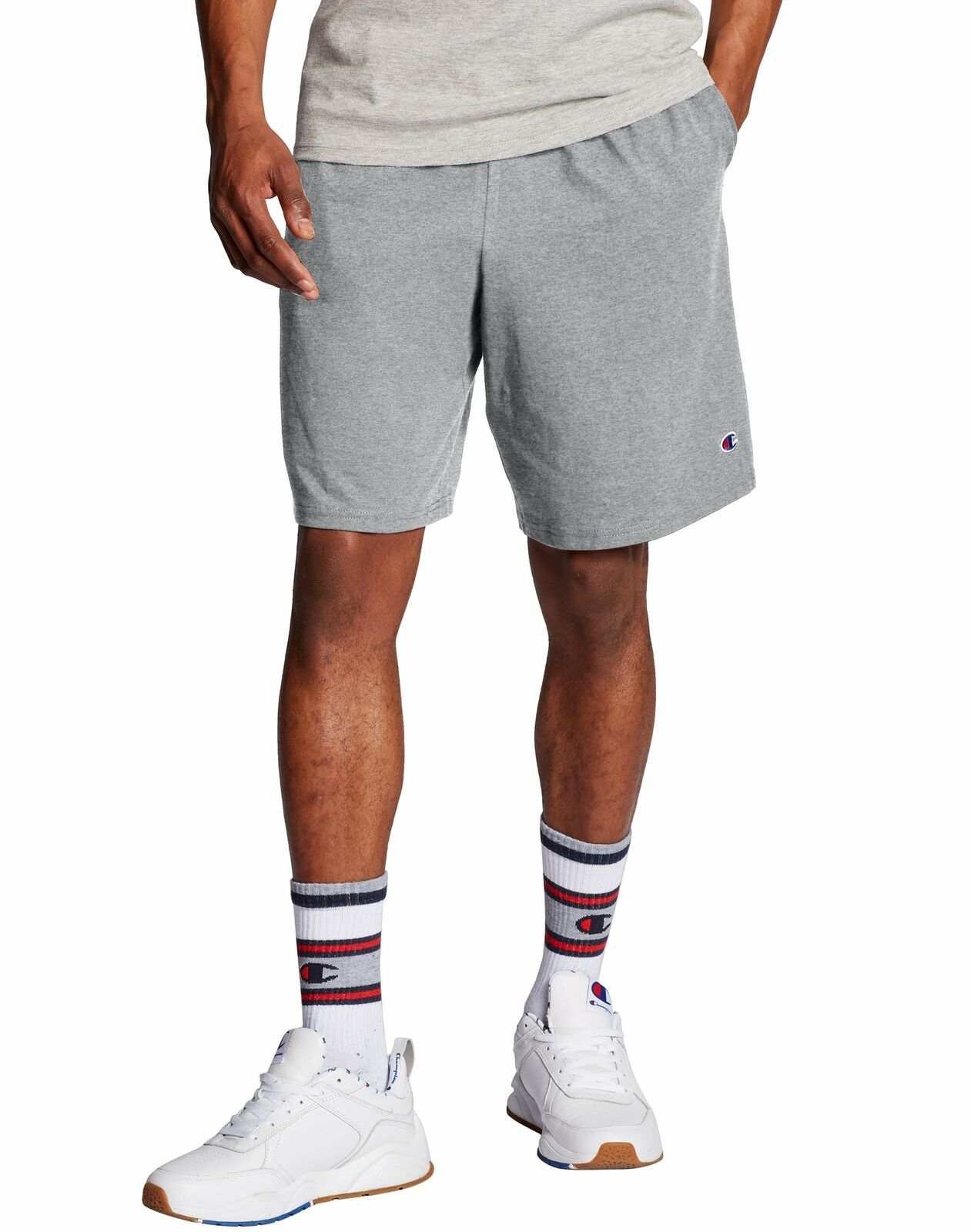 Image 01 - Champion Men's Shorts Pockets Authentic Cotton 9-Inch Gym Workout Warm Jersey