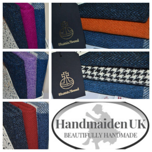 HARRIS TWEED FABRIC BUNDLES /'Blues Range/' 4 SIZES AVAILABLE LABELS /& TAGS craft