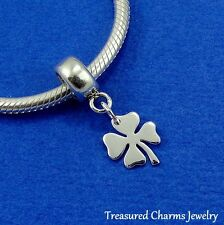 .925 Sterling Silver FOUR LEAF CLOVER Shamrock EUROPEAN Dangle Bead CHARM