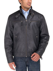 de cuero para Pdm ajuste hombre Look de Natazzi chaqueta de vaca Moto Luciano Heritage calidad 7ROwqWn5