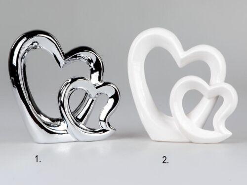 Doppelherz Herz Deko Objekt in weiß oder silber 21 cm