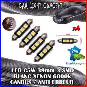 4-x-ampoule-Plafonnier-Feu-39-mm-navette-LED-C5W-BLANC-XENON-6000k-voiture-auto
