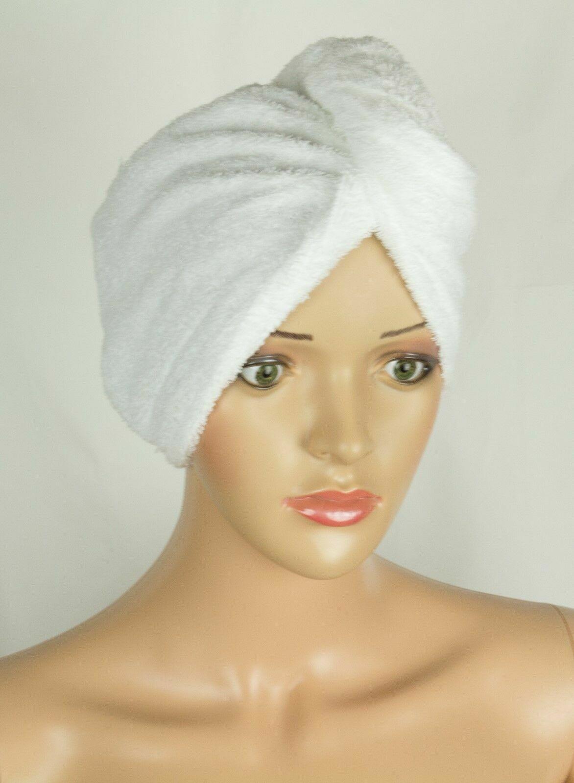 Head Towel White Cotton Quick Dry Twist Hair Turban Non Slip Loop
