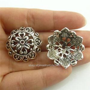 18673-8pcs-Vintage-Silver-Totem-25mm-Beads-Cap-Tassel-End-Flower-Filigree-New