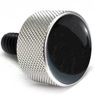 "Silver Billet ""Black Top"" Knurled Bolt for Harley Seat Mounting to Rear Fender"