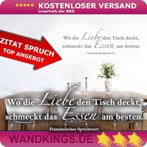 Wandkings Wandtattoo Zitat Spruch Liebe Tisch Esszimmer Essen Lecker 50x16cm TOP