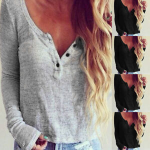 Fashion-Women-Casual-Knit-Blouse-Long-Sleeve-Shirt-T-shirt-Blouse-Tops-Daily-P