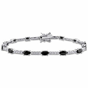 Amour Sterling Silver Black and White Cubic Zirconia Tennis Bracelet