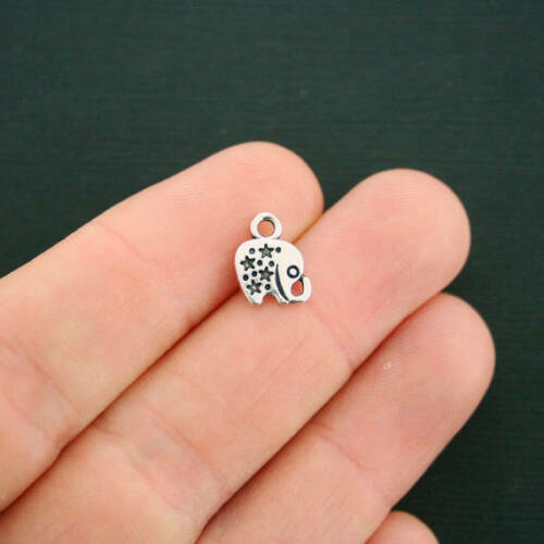 SC4841 12 Elephant Charms Antique Silver Tone 2 Sided With Stars