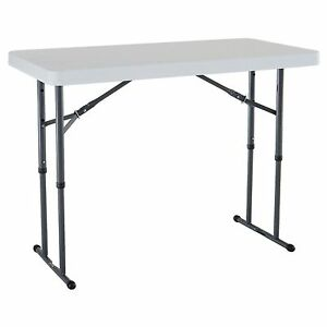 dfb49c287ba Lifetime 80160 Commercial Height Adjustable Folding Utility Table 4 Feet  White