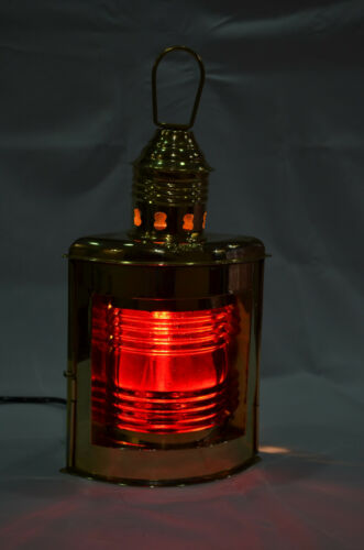 """10/"""" Nautical Solid Brass Port Electric Lantern Red Color"""