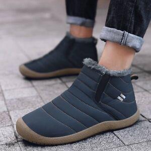 Hommes-D-039-Hiver-Bottes-De-Neige-Coton-a-L-039-interieur-De-Garder-au-Chaud-Impermeable-Chaussures