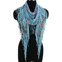 Fashion Women's Rose Floral Print Lace Tassel Blue Triangle Scarf Shawl Wrap New
