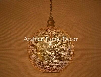 """Handcrafted Moroccan Silver plated Pinholes Brass 16"""" Pendant Light Lamp"""