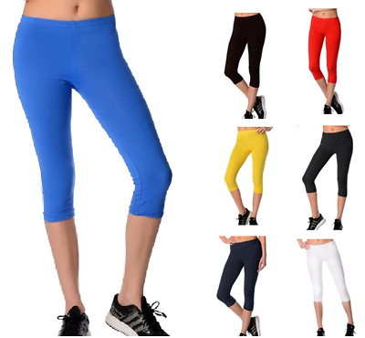 Besorgt Womens Cropped Length Leggings Quality 95% Cotton Run Gym Active Sports Various Auf Dem Internationalen Markt Hohes Ansehen GenießEn