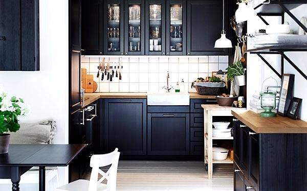 1 Ikea Laxarby Glass Door Black Brown For Sektion Kitchen Cabinet 15 X 40