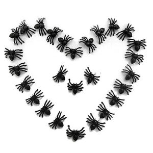 50xkleine-Plastik-Schwarze-Spinnen-Trick-Spielzeug-Halloween-Geisterhaus-A-NEU
