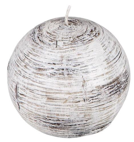 Kugelkerze Weihnachtskerze Adventskranzkerze in Birken-Holz-Optik weiß braun 7cm