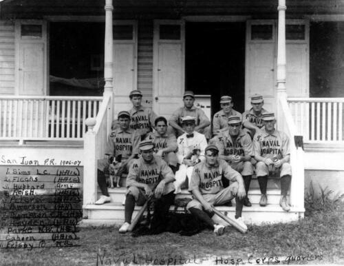 Puerto Rico 1900s Naval Hospital Baseball Squad Photo San Juan