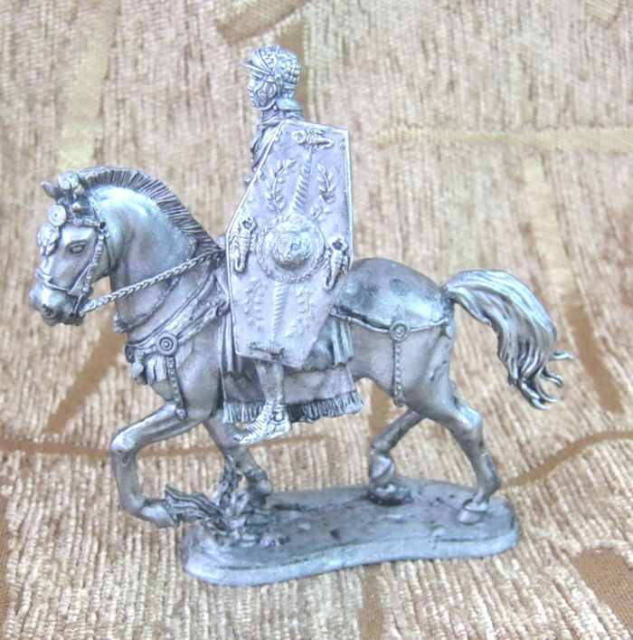 54 mm Tin Figurine Figure Toy Praetorian cavalry trumpeter horse Handmade new