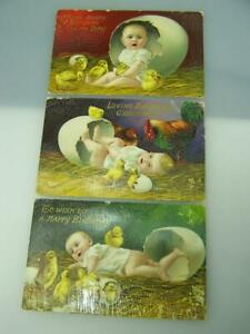 Three-1912-Tuck-amp-Sons-birthday-greetings-postcards-series-6062-posted-Adelaide