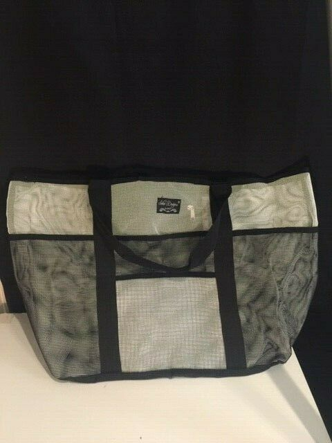 Toy Tote Bag Black and Black Grocery /& Picnic Tote with Oversized Pockets SoHo Collection Large Lightweight Market Mesh Beach Bag
