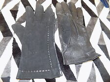 ladies vintage black suede & leather stitched gloves 80s 90s