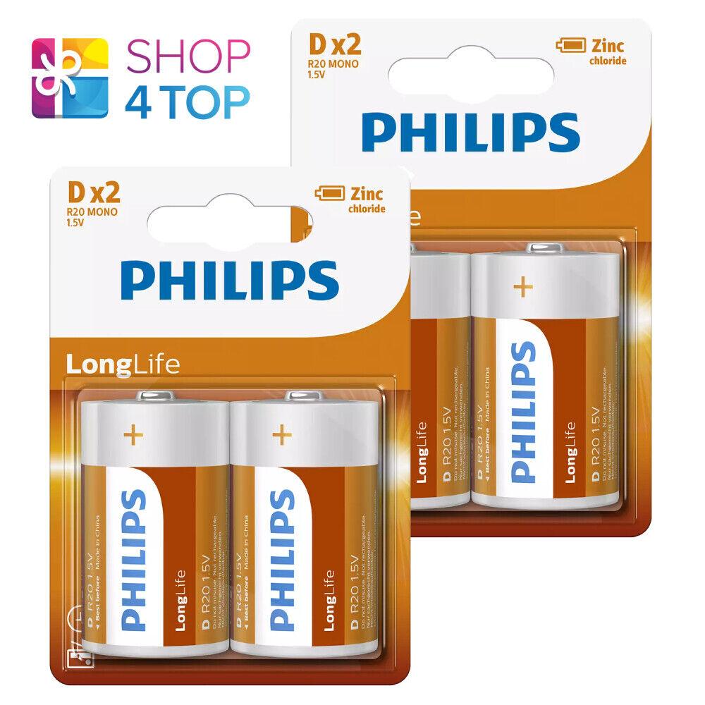 4 Philips Longlife D Batteries R20 Mono Zinc Chloride 1.5V 2BL Exp 2023 New