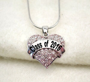 class of 2016 necklace heart charm graduation high. Black Bedroom Furniture Sets. Home Design Ideas