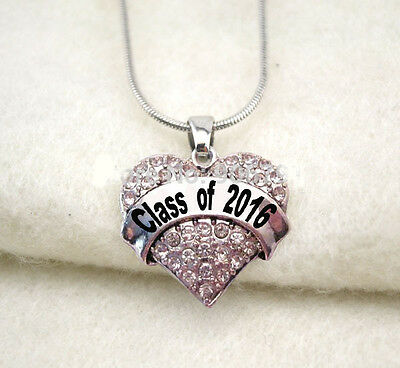 """""""CLASS OF 2016""""  Necklace Heart Charm  GRADUATION HIGH SCHOOL COLLEGE"""