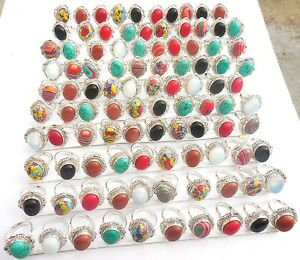 100PCS-WHOLESALE-LOT-925-STERLING-SILVER-OVERLAY-LATEST-GEMSTONE-RING
