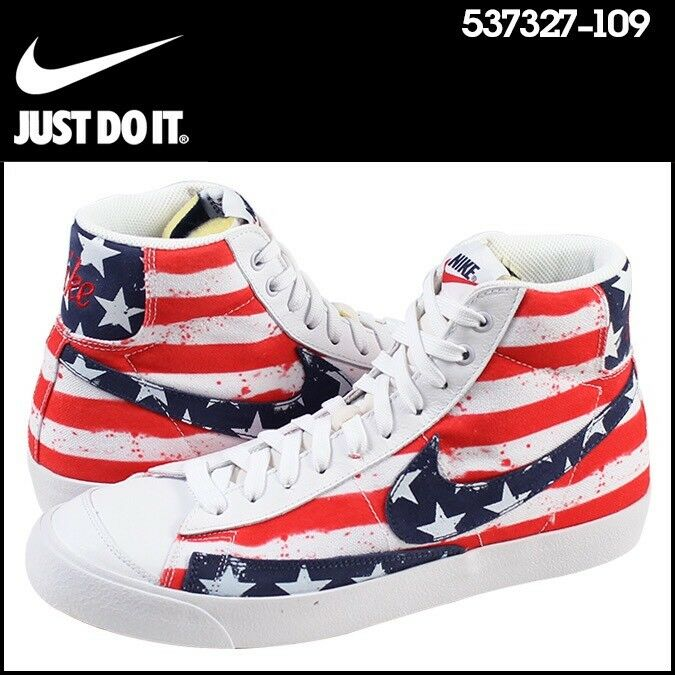 Nike Blazer Mid USA Olympic Independence Day July 4 White Red Blue Men Shoe 10.5