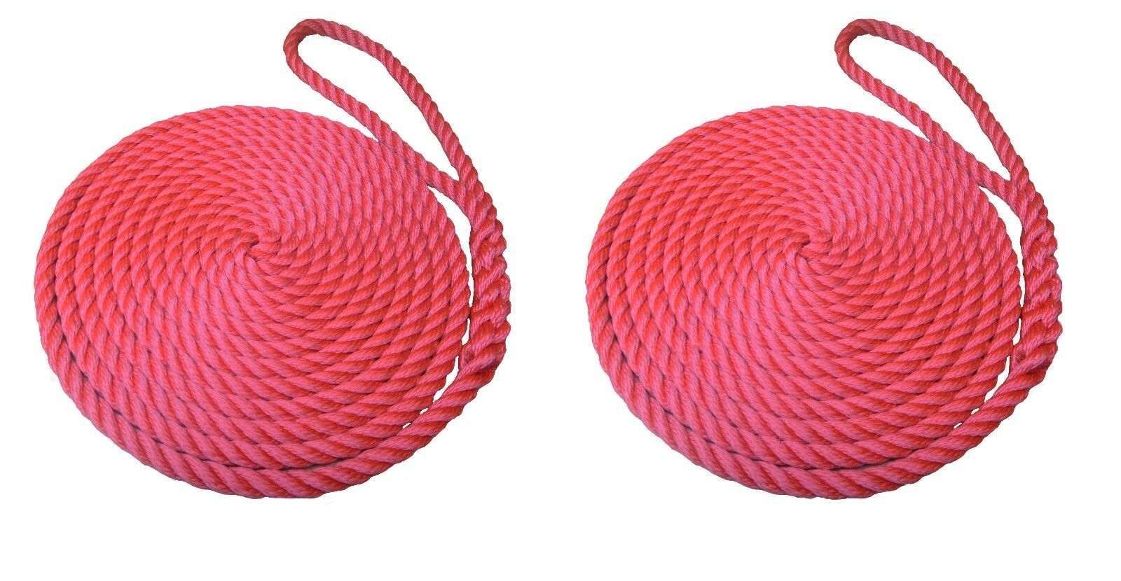 2 x 15 MTS OF 16MM RED SOFTLINE MOORING ROPES   WARPS   LINES BOATS