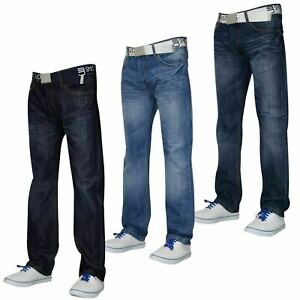 Mens-Straight-Leg-Jeans-Regular-Fit-Cotton-Denim-Pants-Casual-Trousers-Free-Belt