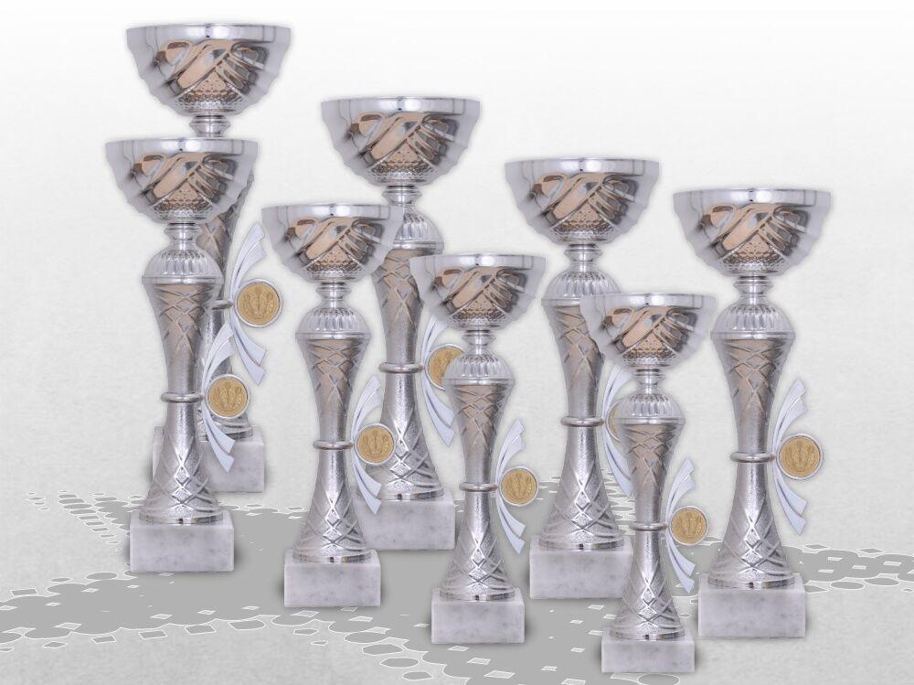 8er Pokalserie Pokale Skylon mit Gravur und Emblem günstig kaufen Pokale silber