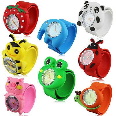 Kids Girls Boys 3D Cartoon Animals Silicone Snap Wrist Watch Xmas Brithday Gift