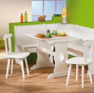 Corner-Dining-Set-White-Wooden-Kitchen-Furniture-Table-Chairs-Bench-Solid-Pine