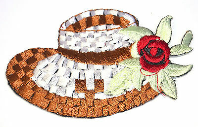 SUMMER STRAW SUN HAT BONNET Embroidered Iron Sew On Cloth Patch Badge APPLIQUE