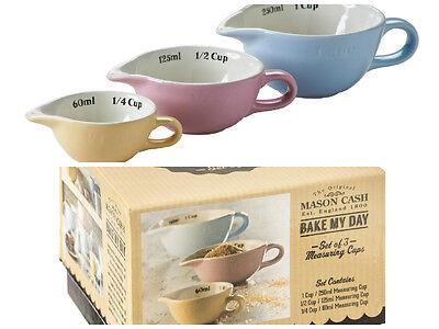Mason Cash Bake My Day set of 3 measuring cups pastel coloured baking measures